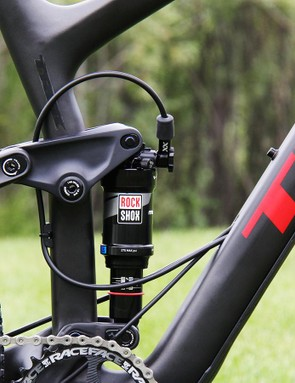 The lockout does a bit of a loop leading to the RockShox Monarch XX shock