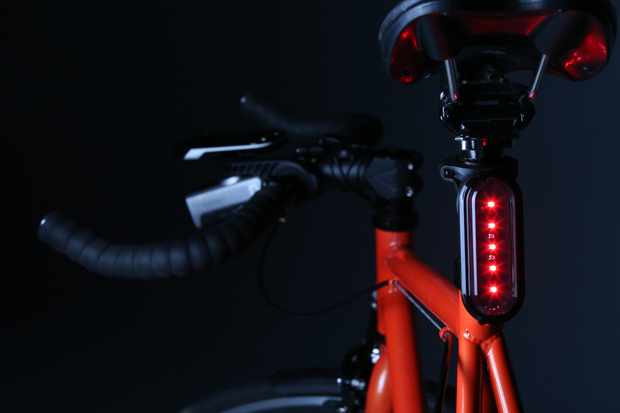 The Garmin Varia rear light can alter its intensity or flashing to alert approaching vehicles of the presence of a cyclist