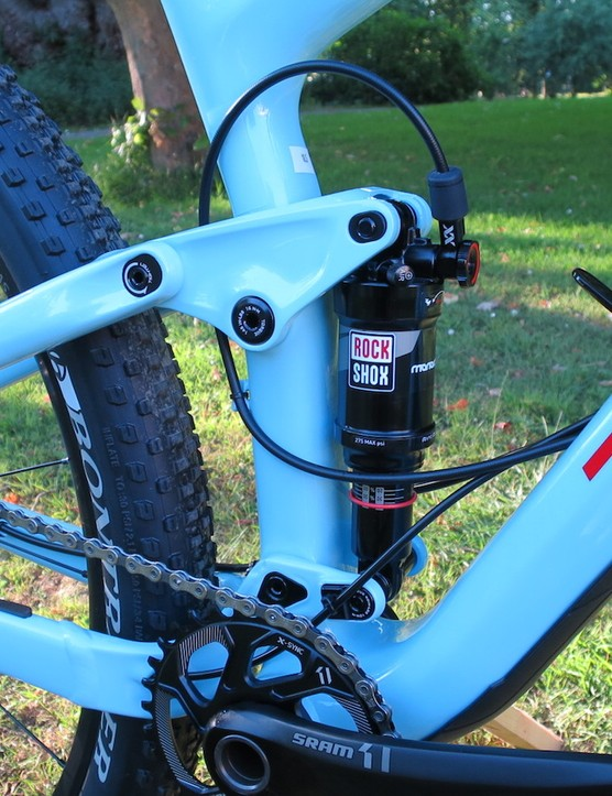 A view of the new Trek Top Fuel suspension system