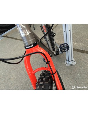 Suspension corrected steel fork on the Pine Mountain One