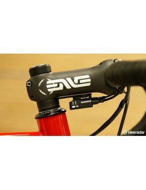 One of the many neat touches, a custom spacer plate to hold the Shimano Di2 junction box