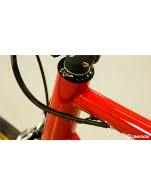 The Di2 wire enters just behind the brake cable for an ultimately clean look