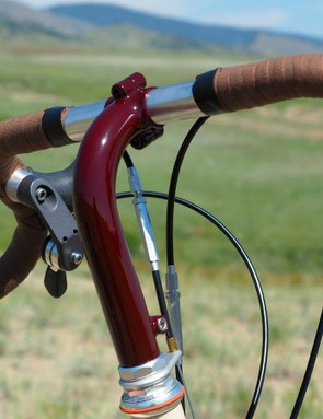 The tall stem was required to get the proper grip height when using flared drop bars