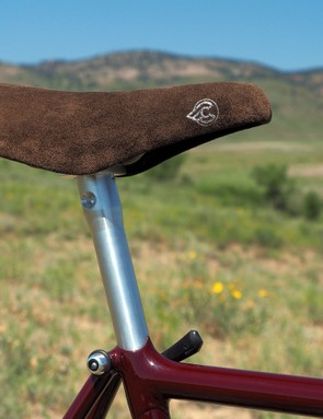 The Cinelli Unicanitor saddle is mounted to a custom machined seatpost - the only bit on the bike that isn't period-correct