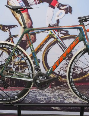 Stevens Di2 equipped Sniper cyclocross bike is a special edition for Van der Poel based on the Prestige CX bike