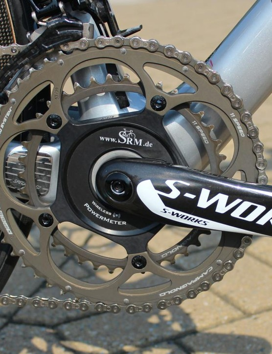 An SRM power meter on the 172.5mm S-Works cranks