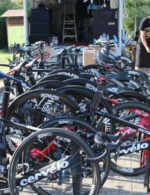 Like many teams at the Tour, MTB Qhubeka will have A, B and C bikes for each rider and for each type of bike. In addition to the Cervelo S series aero bikes, the team will also have R series bikes for the cobbles of stage 4, plus P series time trial bikes