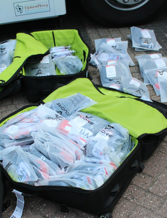 Giant bags full of new kit for IAM from Cuore must be sorted and delivered