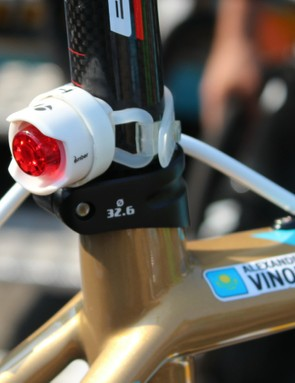 Vinokourov is no longer racing, but his bike still gets the (mostly) pro treatment before the Tour de France, where he is working as management on Astana