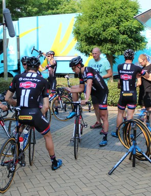 One key part of the pre-Tour mechanic ritual is the team riders testing the equipment. Here, Giant-Alpecin prepares to head out on Giant Defy endurance bikes in prepration for the cobbled stage 4