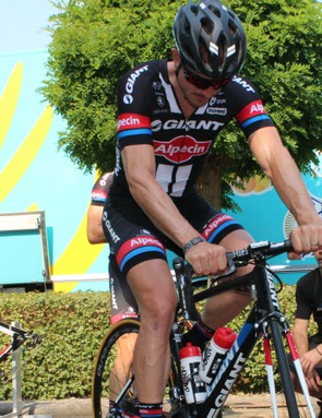 Paris-Roubaix winner John Degenkolb is riding his Paris-Roubaix bike for stage 4, complete with the single bar-top brake lever