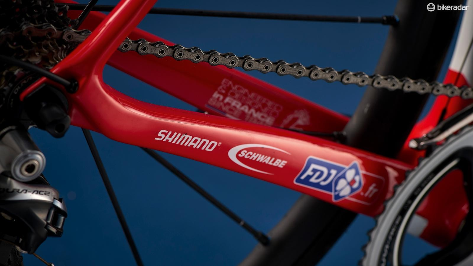 The Lapierre's chainstays are a tad longer than most for more stability on the cobbled Classics