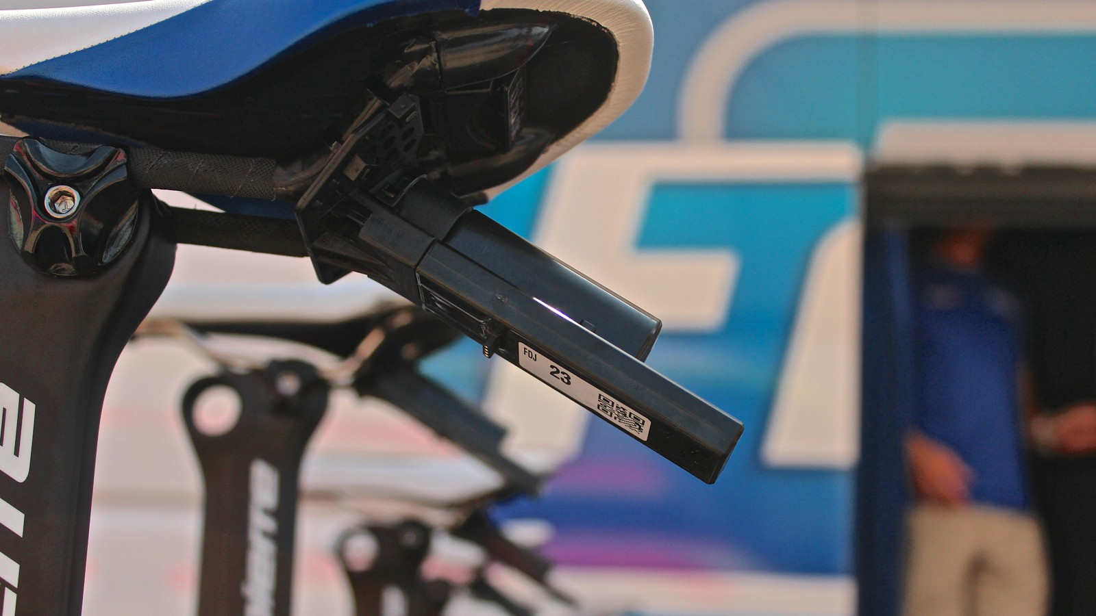 Dimension Data GPS transponders are mounted on every rider's bike at the 2015 Tour de France