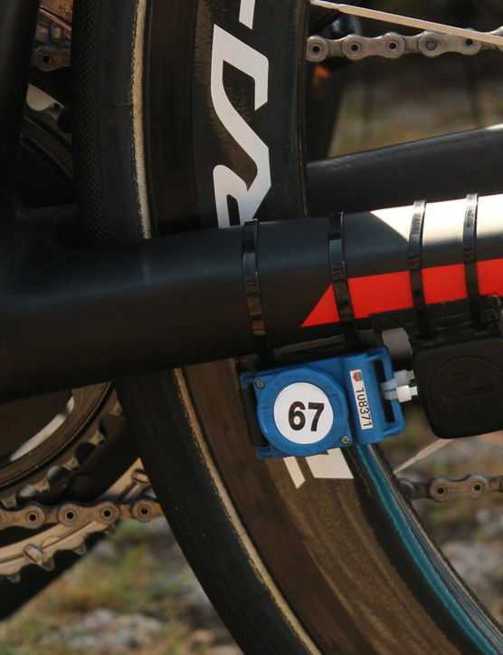 Each rider also has a timing chip (with race number), and many have a wheel-magnet sensor, too. It adds up to a lot of plastic and electronics zip-tied on the bikes