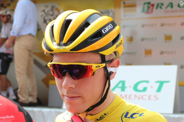 Tour de France yellow jersey Rohan Dennis of BMC started stage two in a new Giro Synthe with MIPS