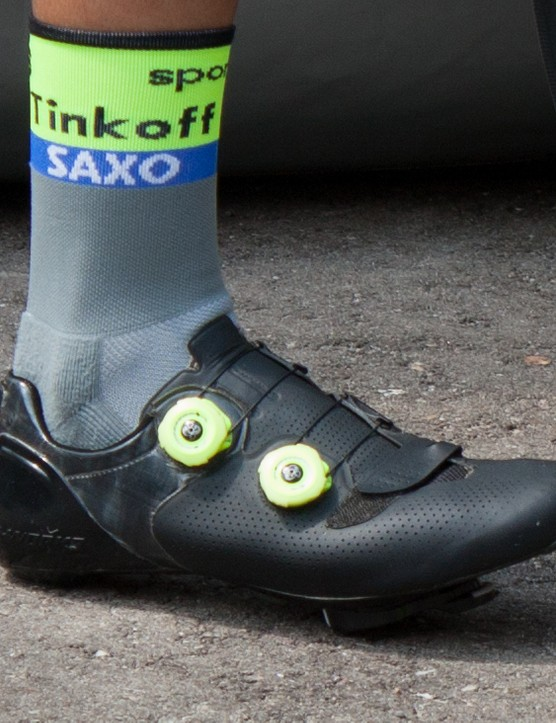 Tour favourite Alberto Contador has also swapped the dials of his S-Works 6 shoes to match his Tinkoff kit