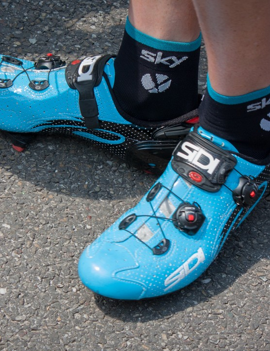 These blue Sidi shoes of Chris Froome fit in perfectly with the Team Sky colours