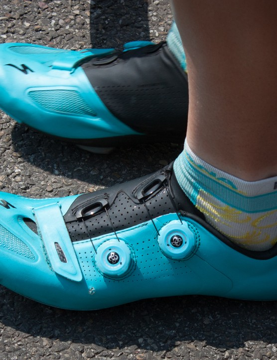Funnily enough, Specialized produce shoes in just the right colour for Astana