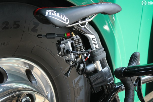 The Tour de France experimented with live GoPro feeds during the neutral roll-out of stage 2. As part of production, Tommy Voeckler (Europcar) had this strapped to his seatpost