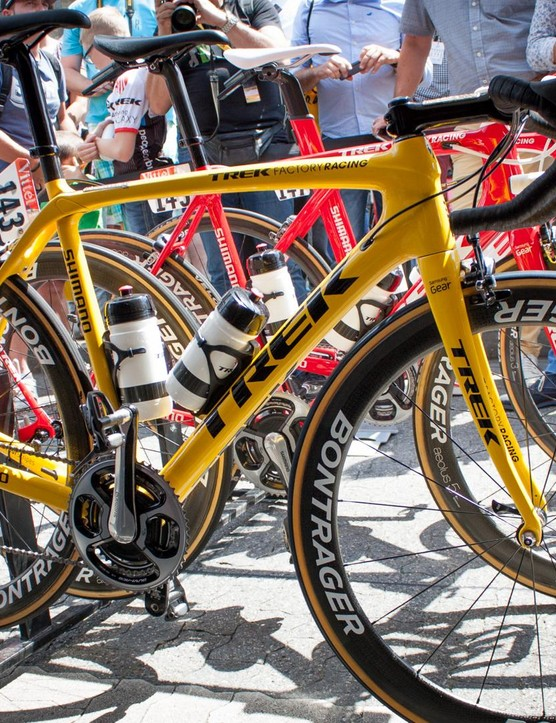 Cancellara's yellow Trek Madone drew a massive crowd at the start of stage three