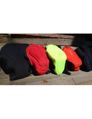 Chamois of the Best Women's Bibs: (Left to Right) Rapha, Giro, Alé, Castelli, Velocio