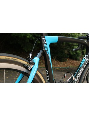 Pinarello's Dogma K8 features an elastomer on the rear end to smooth out rough surfaces, such as cobbles