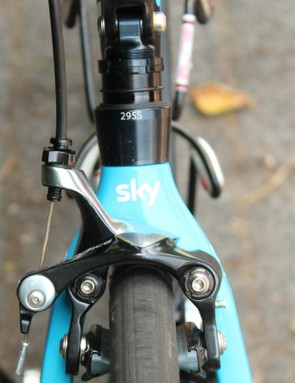 Each elastomer-suspension system is measured and marked on Team Sky bikes