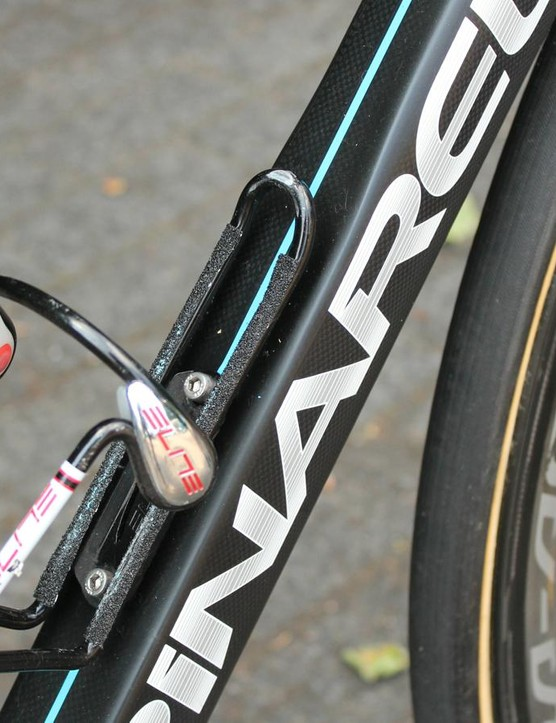 Grip tape on the water bottle cages offers a little more security over the stones