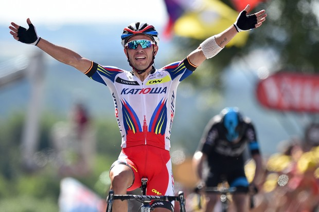 Joaquim Rodriguez (Katusha) wins Stage 3 of the 2015 Tour de France atop the famed Mur