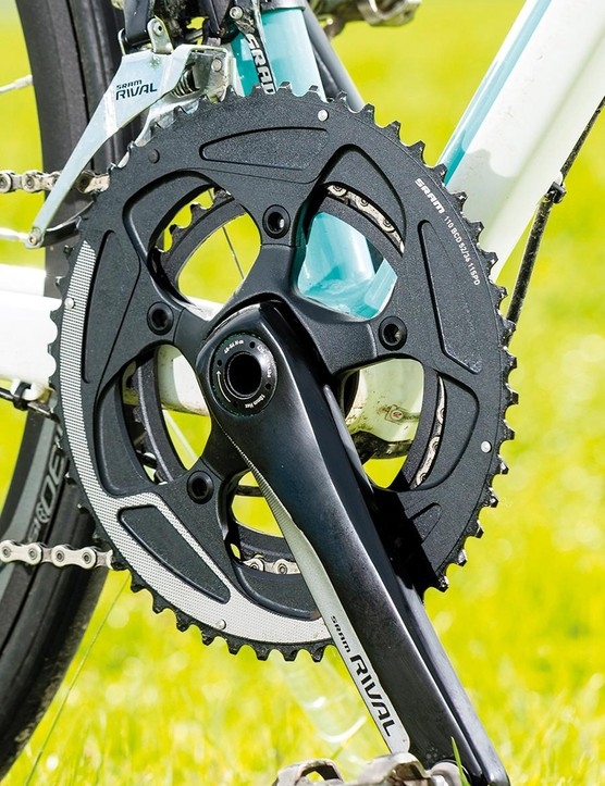 An 11-32 is married to pro compact 52/36 BB30 cranks