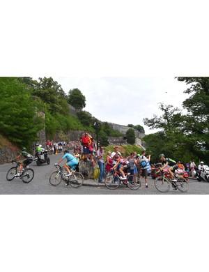 The breakaway on a cobbled climb