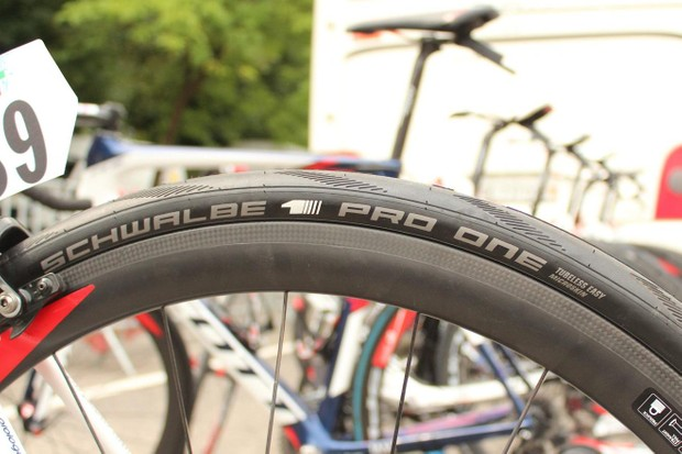 IAM Cycling was the sole team on tubeless, Schwalbe's new Pro One tubeless option that we first saw at Paris-Roubaix this year