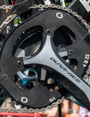 A couple of bits of tape won't stop Chris Froome's Osymetric chainrings being very obvious