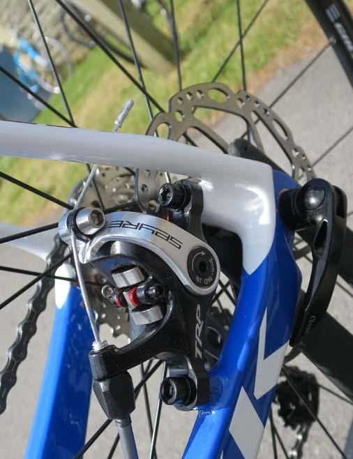 The Poggio mounts its rear caliper well within the rear triangle to alleviate heel clearance issues