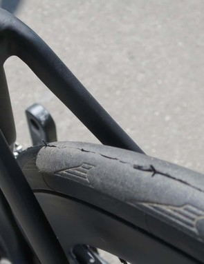 The skinny seatstays are bridgeless allowing for a wider rim/tyre combination