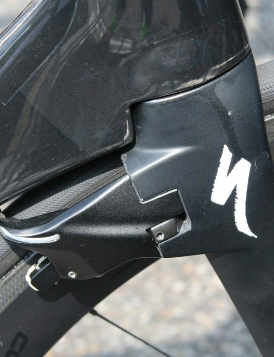 Specialized engineers had to add a little width to the brake calipers to stay within the UCI's 3:1 length-to-width rule