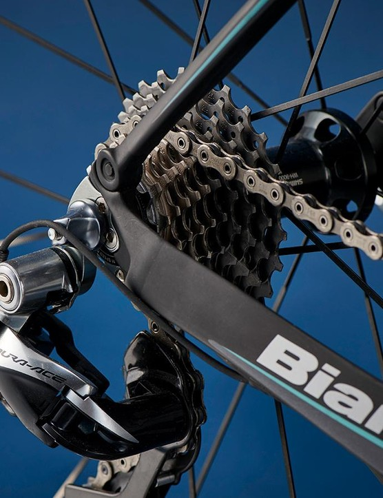 Chunky chainstays contribute to efficiency, while slim seatstays keep the Bianchi comfortable