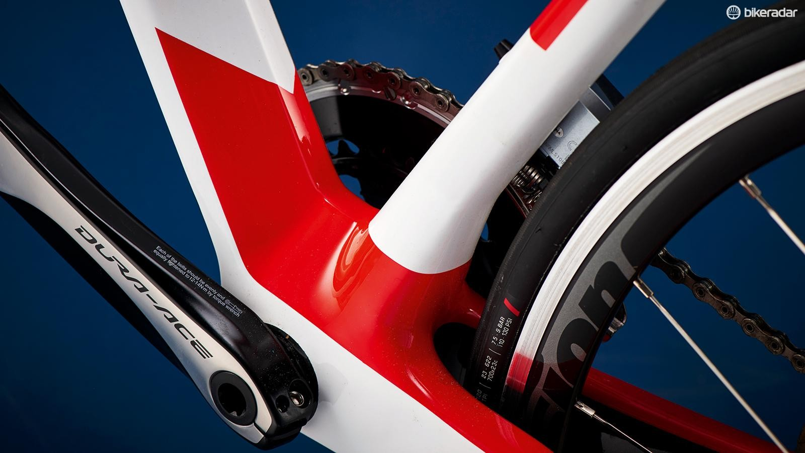 The Orca's beefy bottom bracket shell flares out to huge squared off chainstays