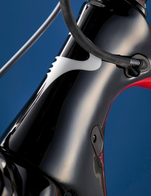 The F8 has a slimline head tube that's claimed to improve the Pinarello's aerodynamics