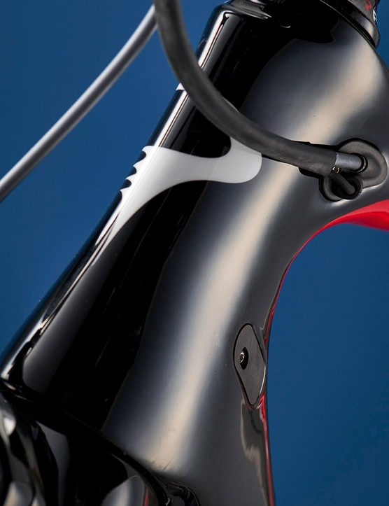 The F8 has a slimline head tube that's claimed to improve the Pinarello's aerodynamics