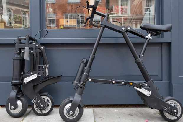 Despite the addition of a motor and battery, the A-Bike retains its compact dimensions once folded