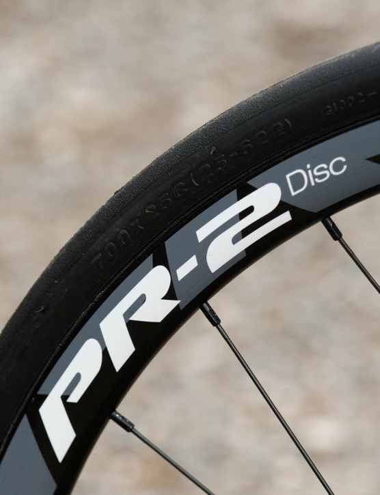 The Giant PR-2 wheelset is a durable choice, but comes at a weight penalty