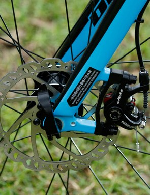 The TRP Spyre caliper clamps onto a 160mm rotor - plenty of stopping confidence here