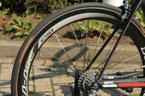 Like many teams at the Tour, BMC races on Continental tubulars. Van Garderen has 25mm Competition Pro LTDs