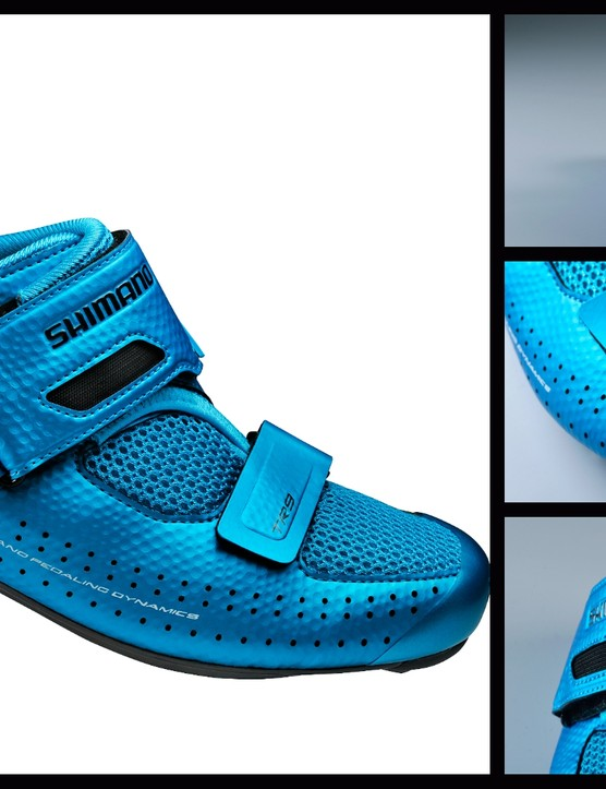 The eye-catching TR9 is the latest addition to the Shimano triathlon shoe line-up