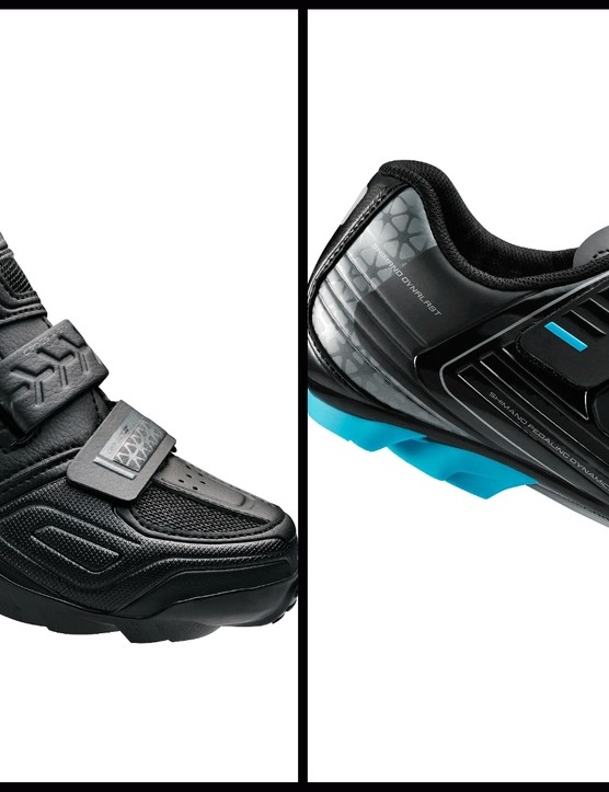 Two new women's SPD compatible MTB shoes make up part of the rapid expansion of Shimano's women's cycling shoe range. The WM64 (L) and WM53 (R)