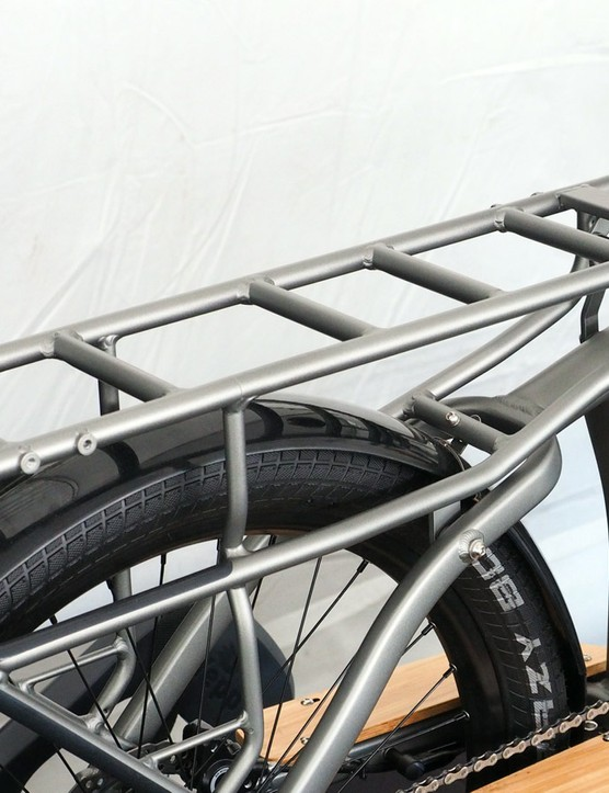 The huge rear rack offers plenty of room for larger items while smaller packages will fit in the included panniers