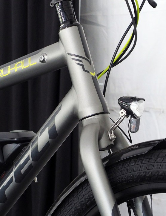 The tapered front end and large-diameter tubing seem to help with frame stiffness, which is important when you've got a full load. Braze-ons on the top tube are in place for future bolt-on accessories