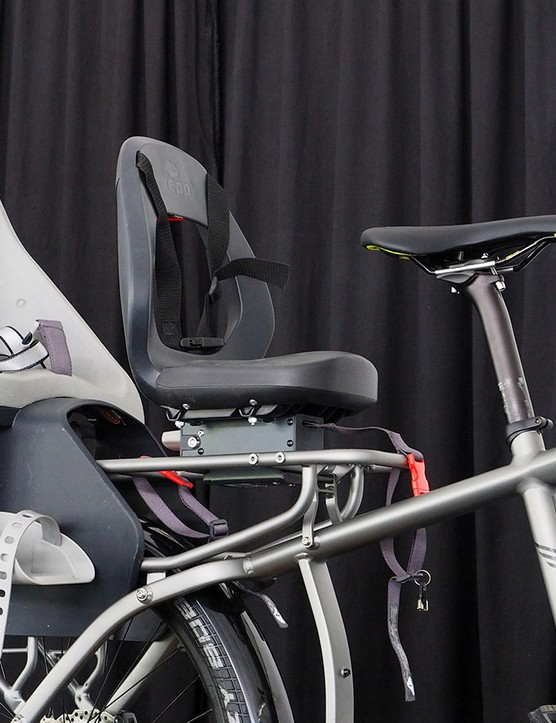 There's plenty of room on the rear rack for two kid seats - or, er, a fully grown adult (don't ask how we know this)