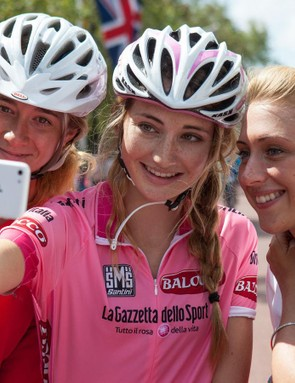 Riders pose for selfies with Laura Trott at last year's Prudential RideLondon sportive